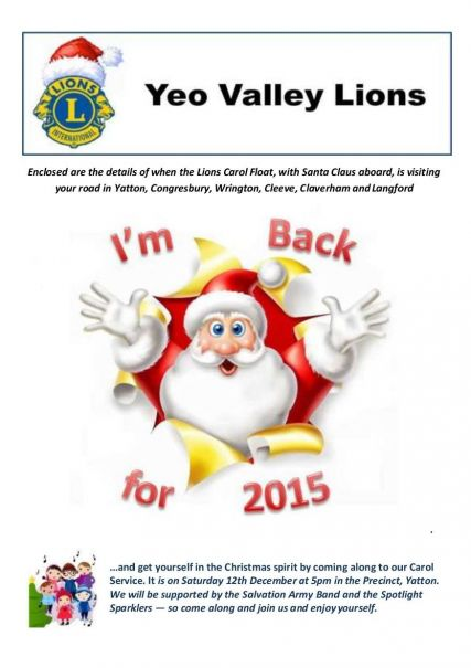 2015 Lions Xmas Programme Front Cover