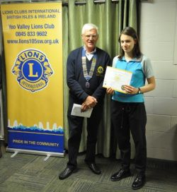 Young Lions in Service Award Freya Whybrow