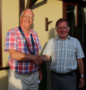 President Graham Marshall (Left) receiving the chain of office from Barry Straughton
