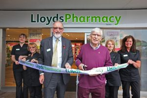 Lion Ron Bebe was recently asked to cut the ribbon at the reopening of Lloyds Pharmacy in Yatton