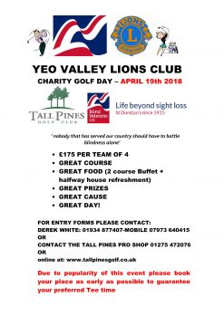 lions Charity golf poster 2018